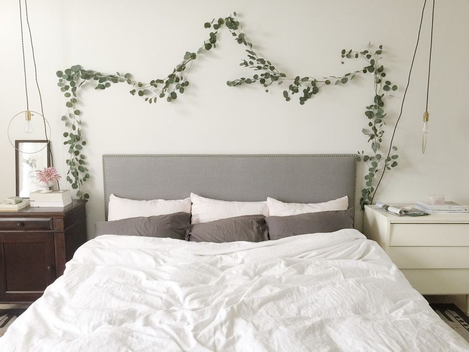bed with greenery