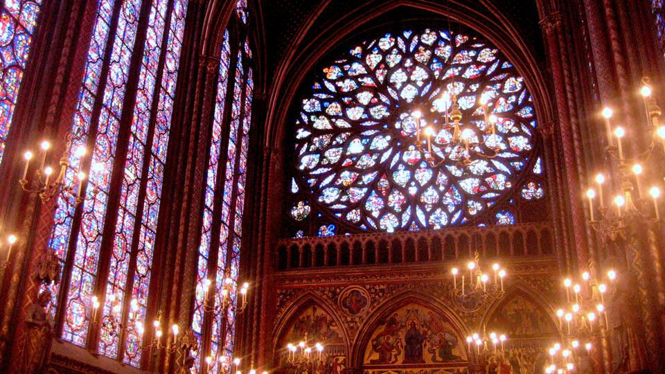 La Sainte-Chapelle houses some of the most beautiful stained glass and rose windows in Europe.