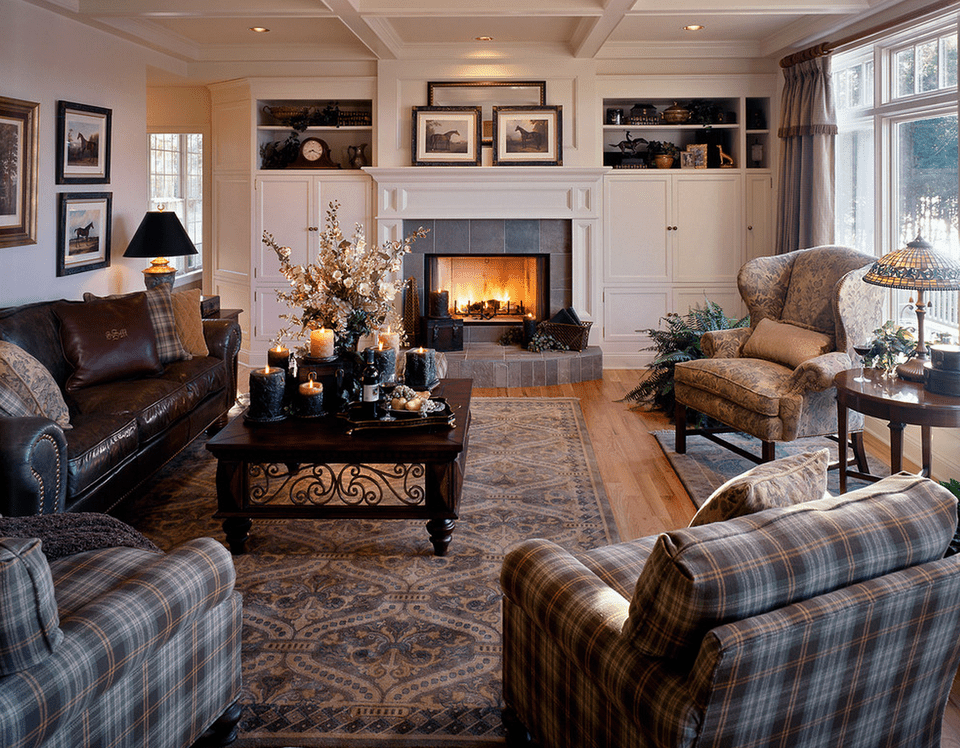 living room with plaid and leather furniture - Design Ideas For Living Rooms With Fireplace