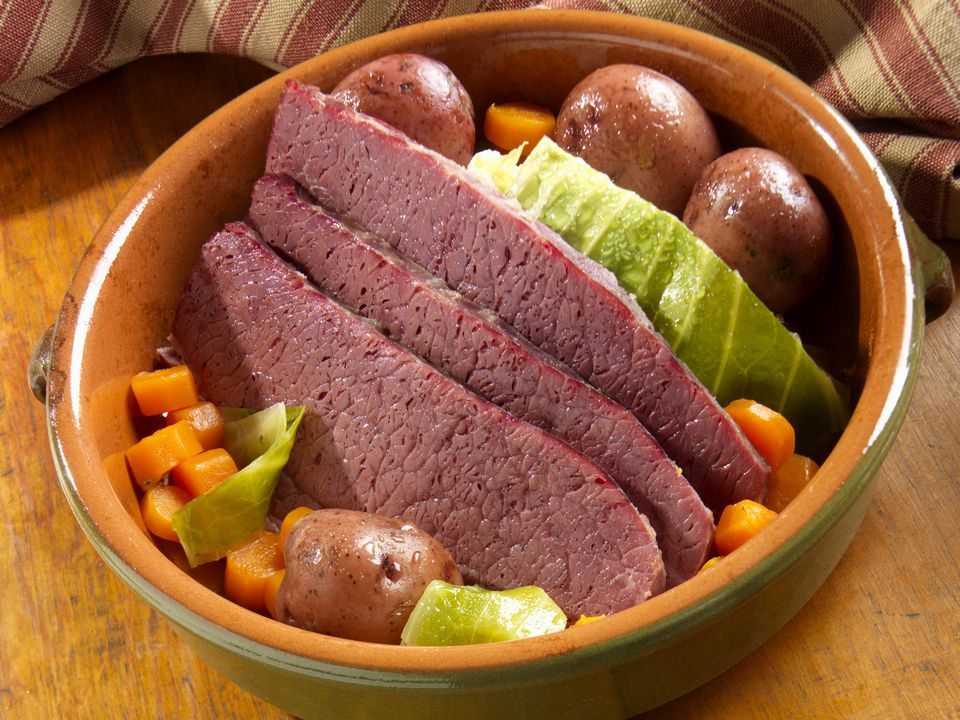 Corned Beef with Boiled Cabbage, Potatoes and Carrots