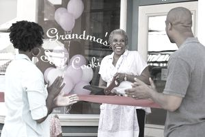 A grandmother opening a bakery