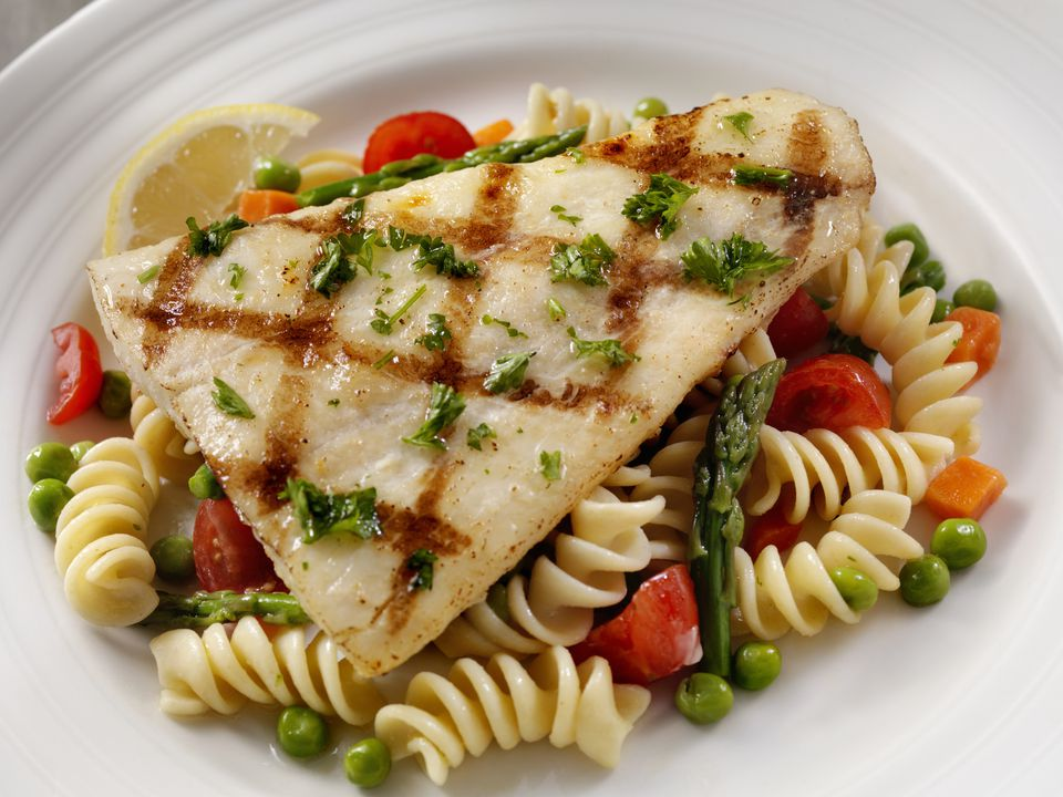 Garlic halibut steak