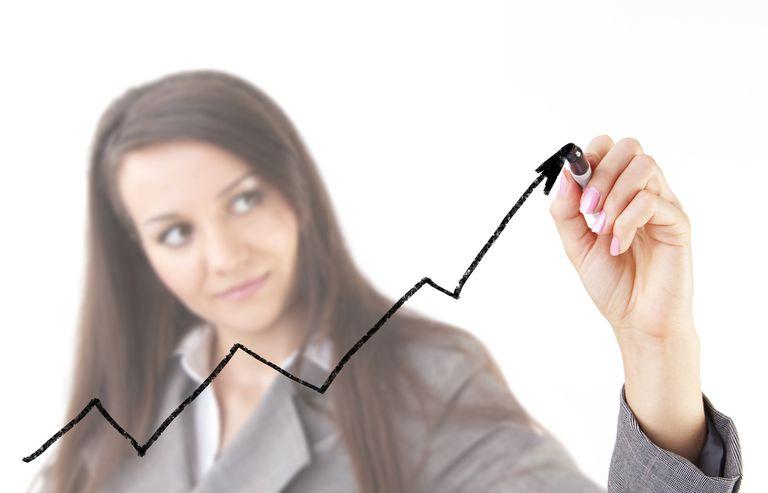 Woman Drawing Trading Chart