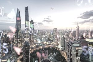 Display stock market numbers and shanghai background