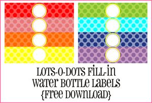 9 sets of free printable water bottle labels create your own custom water bottle labels at piggy bank parties negle Gallery