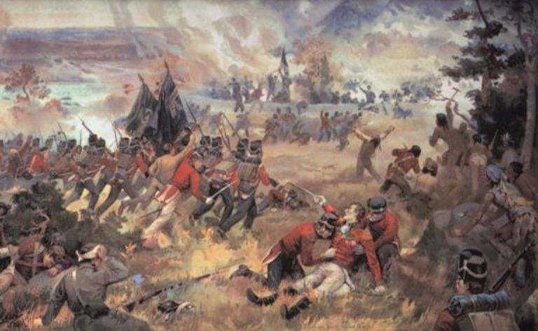 Image of the death of General Brock at the Battle of Queenston Heights by John David Kelly (1862 - 1958) published 1896