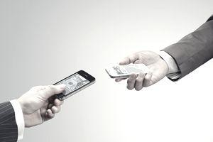 Mobile money exchange with smartphone