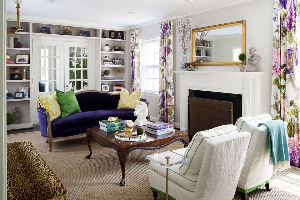 Purple Curtains and Purple Sofa
