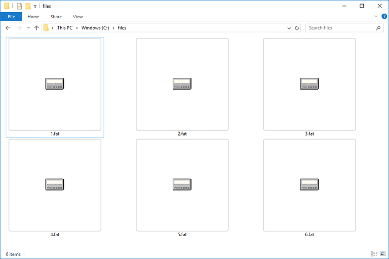Screenshot of several FAT files in Windows 10 that open with Zinf