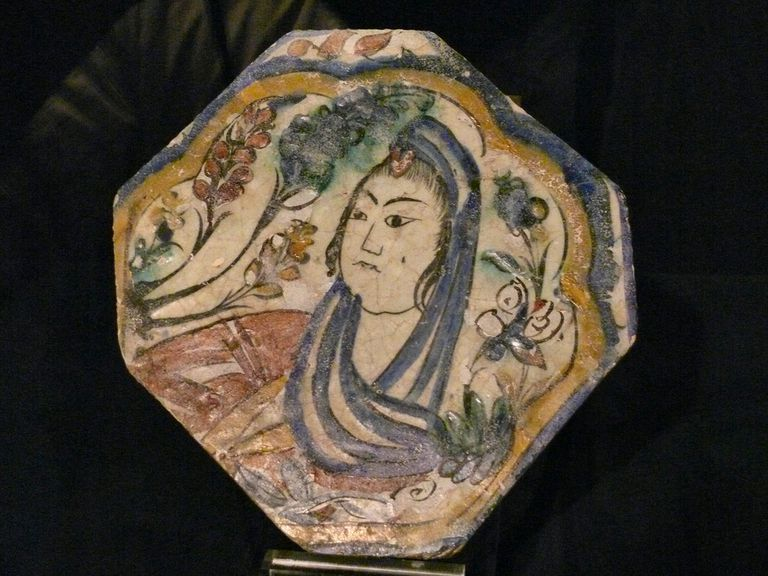 Safavid tile portrait of a woman