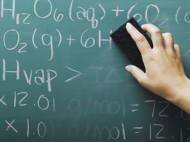 Picture of a hand erasing equations on a chalkboard