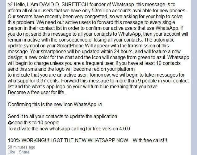 Whatsapp Charging Inactive Users 37 Cents Per Message
