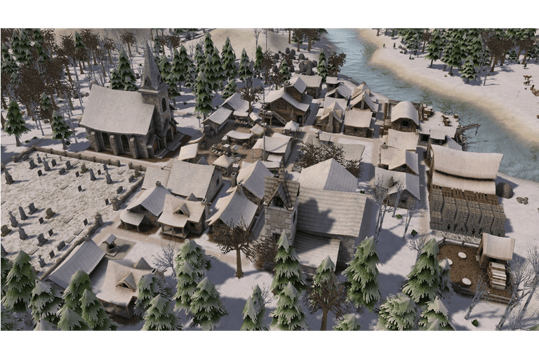 Screenshot of the Banished city building game