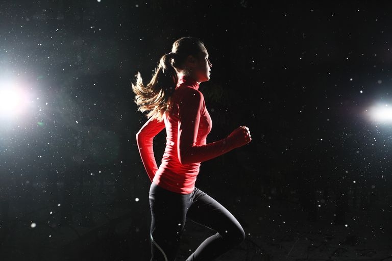 Girl Running at Night