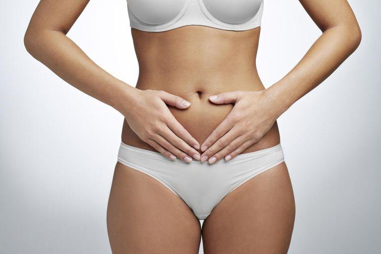 Woman having stomach pain