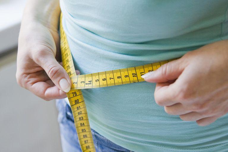 Woman measuring her waist