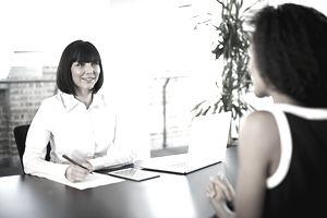 Businesswoman conducting an interview