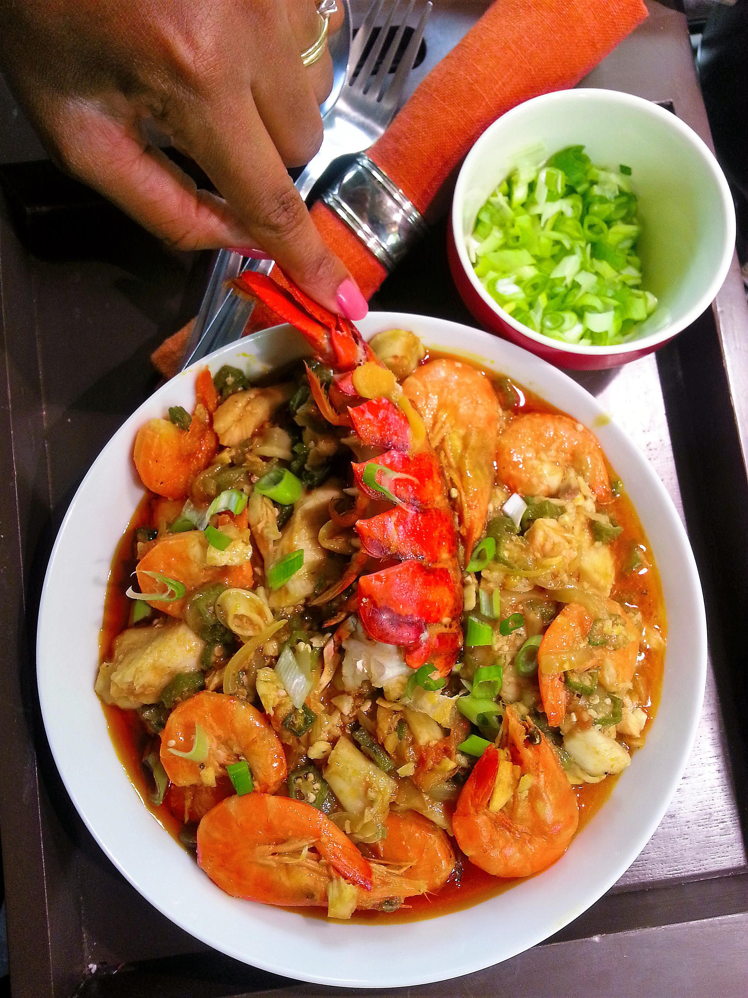 Okra Stew With Prawns And Lobster Tails