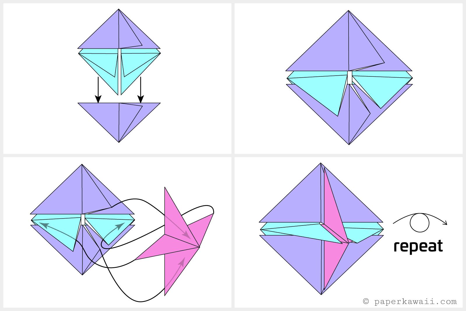 Origami square hanging decoration tutorial jeuxipadfo Images