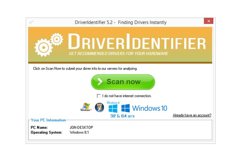 Screenshot of DriverIdentifier v5.2 in Windows 8