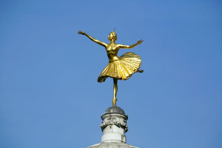 Statue of Prima Ballerina Anna Pavlova on Top of the Victoria Palace Theatre in Victoria