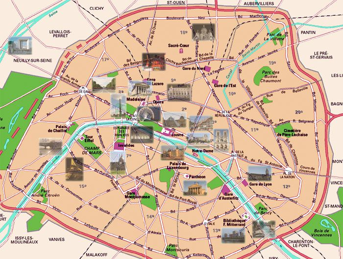 This map of modern-day Paris shows many of the city's main sight and attractions. (Click map for better view)