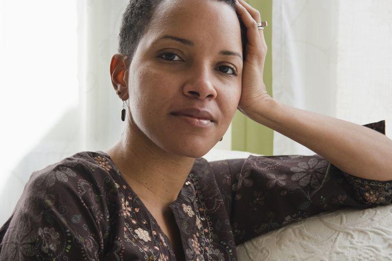 Portrait of woman on sofa