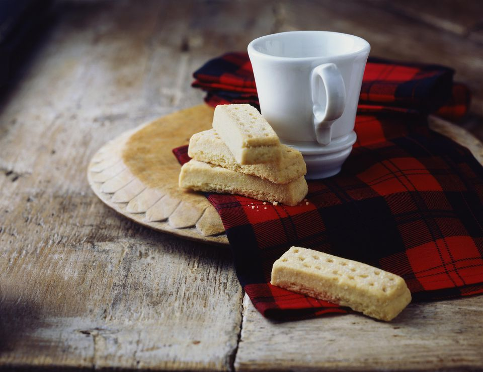 Luxury Scottish all butter shortbread fingers on tartan tea towel