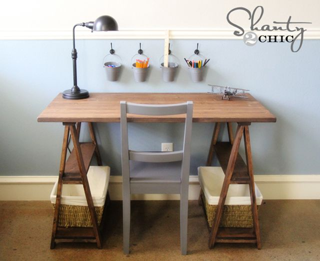 diy vanity table plans. Sawhouse Trestle Desk Plan from Ana White 13 Free DIY Plans You Can Build Today