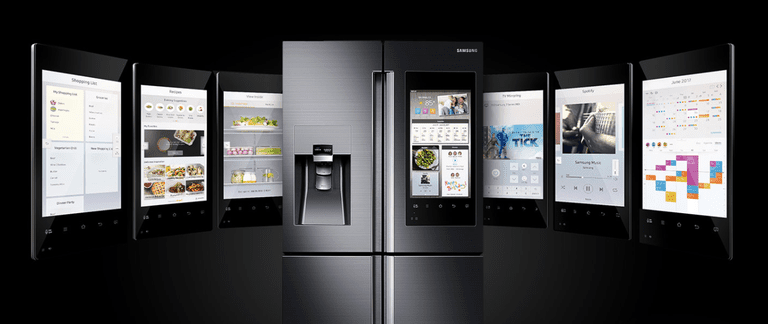 Smart refrigerator with touchscreen display examples