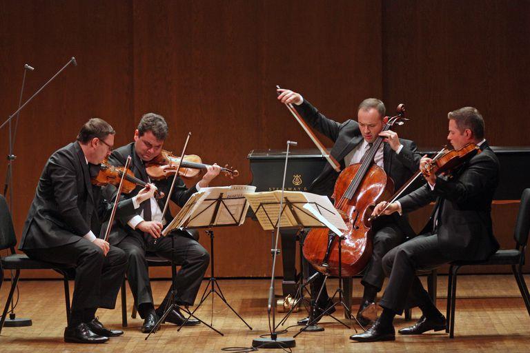 The Jerusalem Quartet, a string quartet made of members (from left) Alexander Pavlovsky, Sergei Bresler, Kyril Zlontnikov and Ori Kam, perform Brahms's String Quartet in A minor at the 92nd Street Y on Saturday night, October 25, 2014.