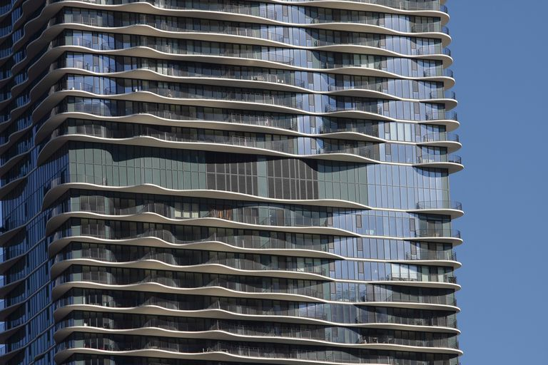 Detailed floors of The Aqua, designed by Jeanne Gang, in Chicago, Illinois in 2011