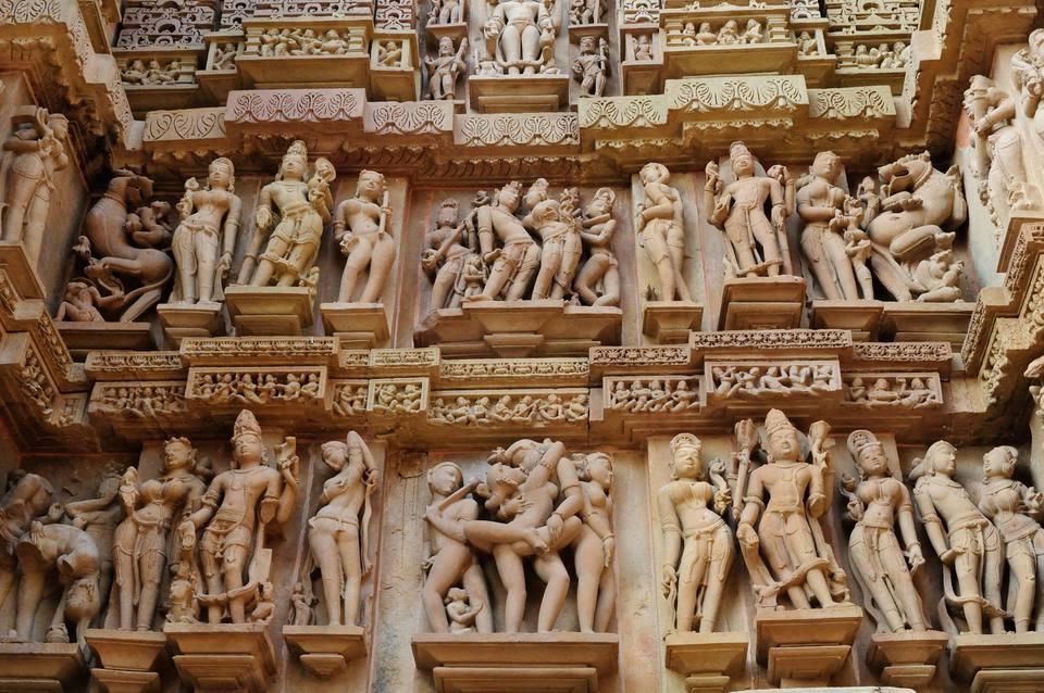 Erotic sculptures at Khajuraho.