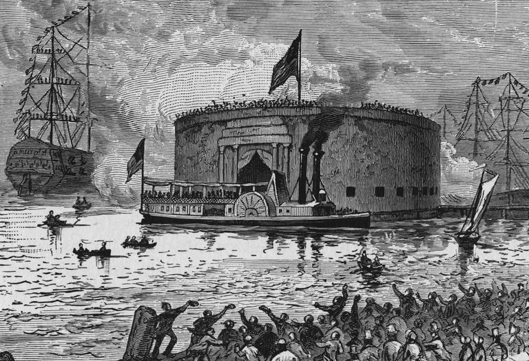 Illustration of Lafayette arriving at New York City in 1824