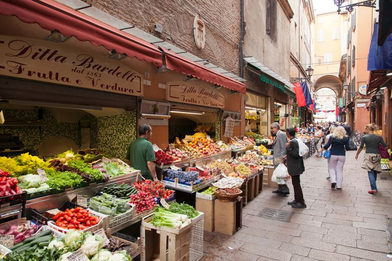 Fruits and vegetables in market in Bologna, Italy