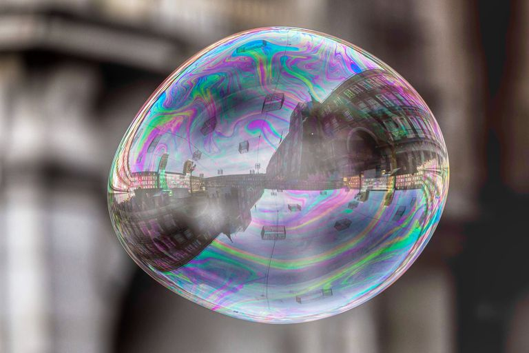 Reflection Of Buildings On Multi Colored Bubble