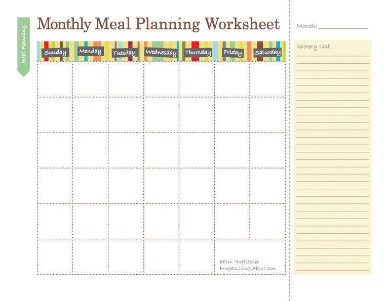 Free Printable Meal Planners – Meal Plan Worksheet