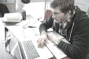 Student doing social media reserach