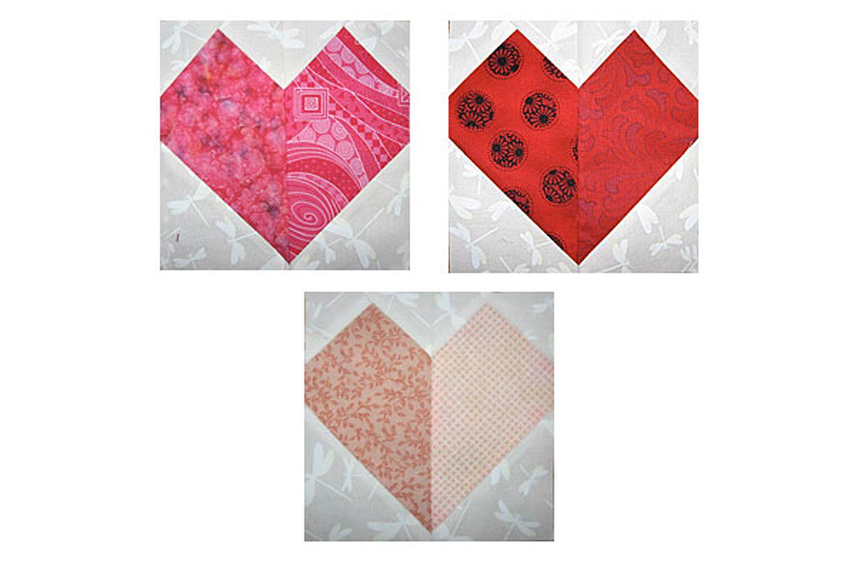 Patchwork Hearts Quilt Block Pattern