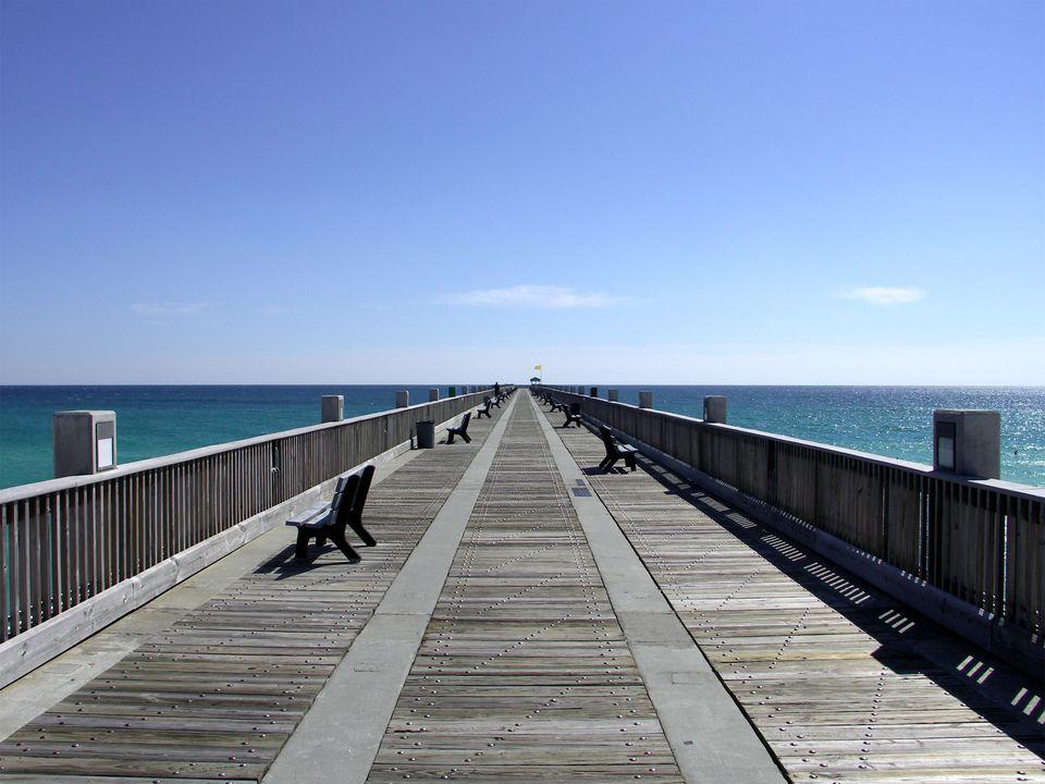 The Pensacola Beach Pier on a peaceful spring day