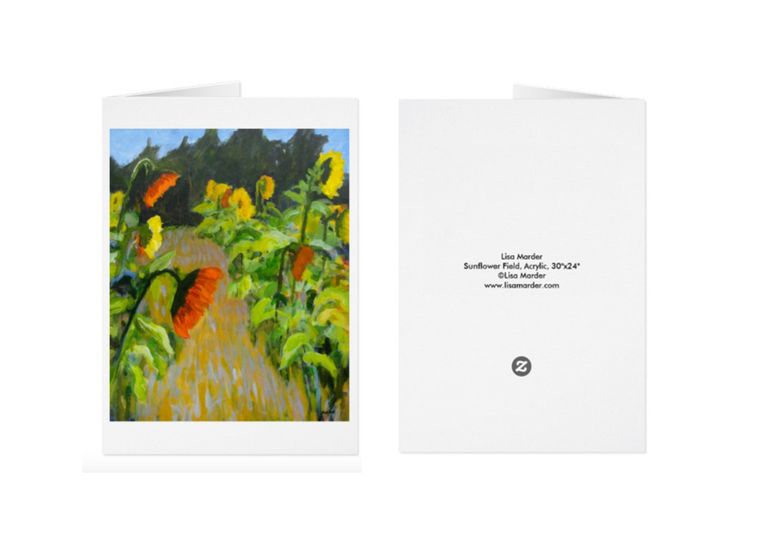 Greeting card of sunflowers in a field, painting by Lisa Marder