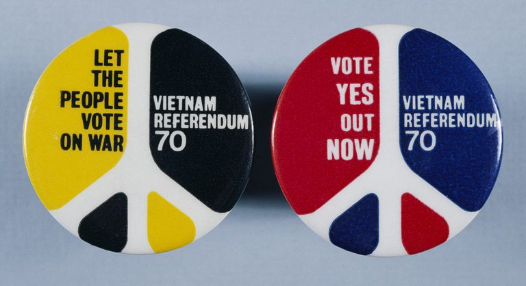 Peace symbol buttons from 1970 calling for a referendum vote on the Vietnam War
