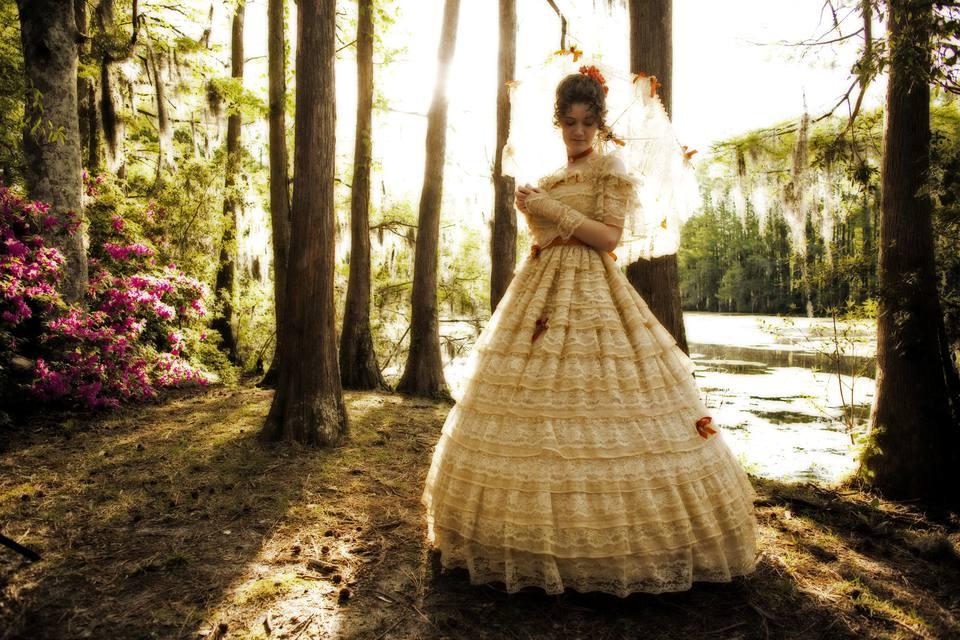 Southern belle in a field