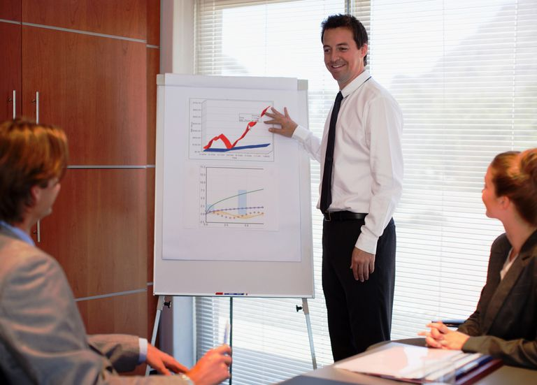 Businessman pointing to flipchart