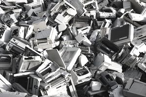 Electronic scrap, sorted used computer parts and printers, at a recycling yard, Germany