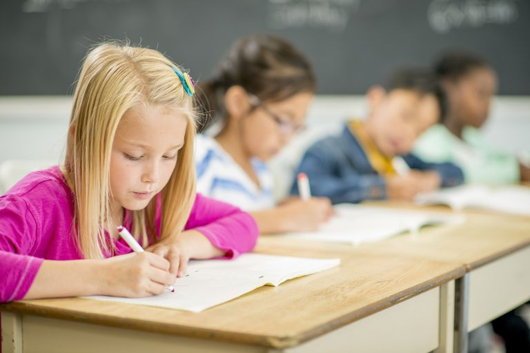 second grade students in class