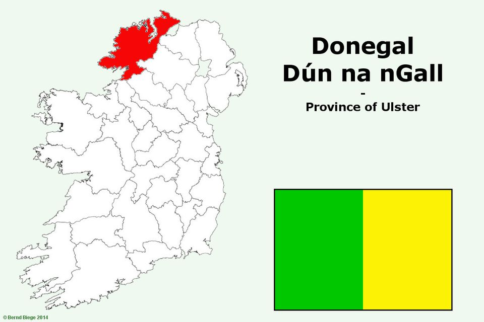 County Donegal on the map of Ireland