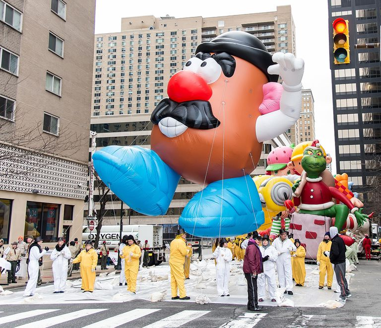 A Mr. Potato Head float at a Thanksgiving Day parade