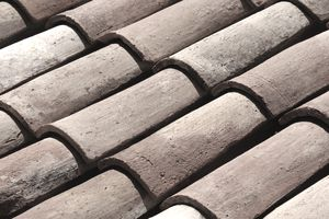 Close view of fireclay roof tiles.