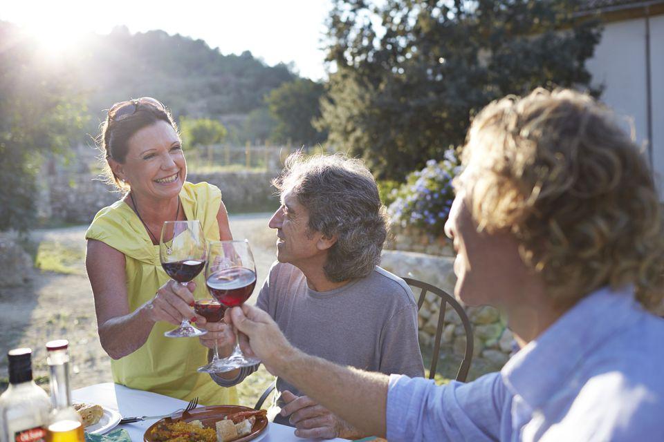 Dinner toast with wine